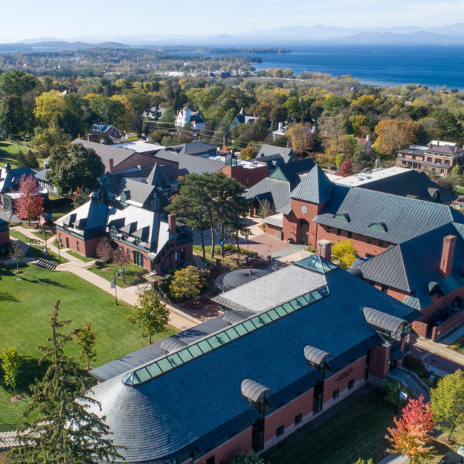 Aerial view of Champlain College campus